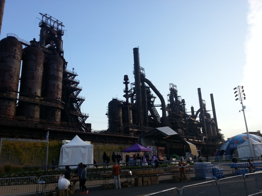 View of the steel stacks from near the start.